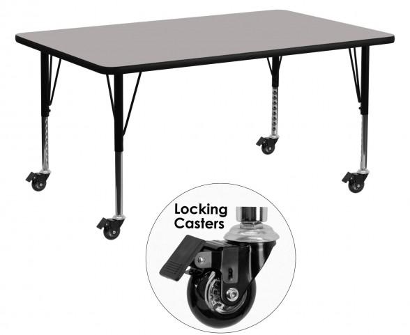 "Mobile 60""L Rectangular Pre-School Adjustable Gray Activity Table"
