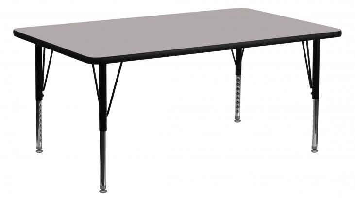 "60""L Rectangular Pre-School Adjustable Height Gray Activity Table"