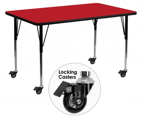 "Mobile 60""L Rectangular Adjustable Height Red Activity Table"