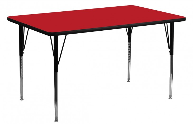 """60""""L Rectangular Adjustable Height Red Activity Table"""