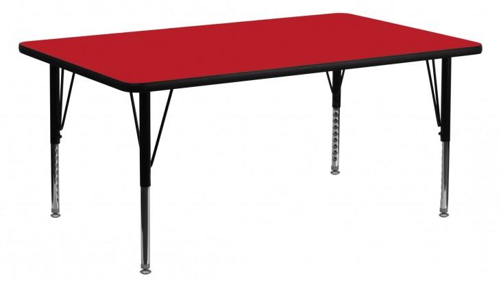 "60""L Rectangular Pre-School Adjustable Height Red Activity Table"