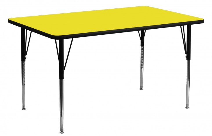 "60""L Rectangular Adjustable Height Yellow Activity Table"