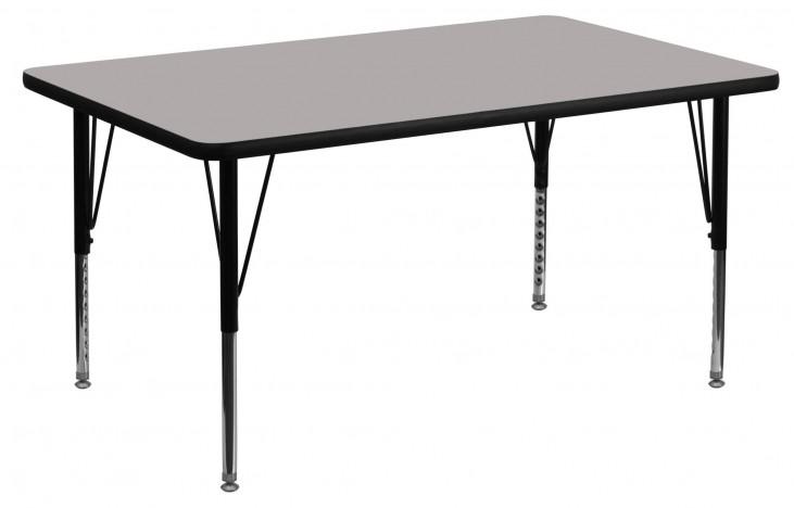 "48""L Rectangular Pre-School Adjustable Height Gray Activity Table"