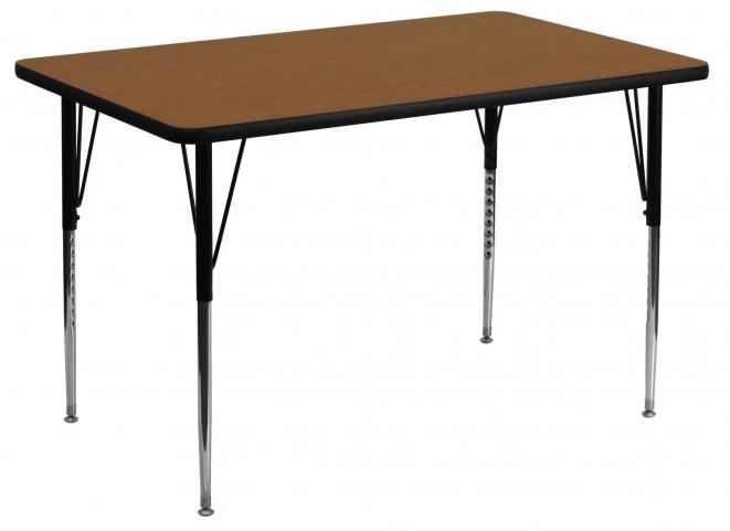 "48""L Rectangular Adjustable Height Oak Activity Table"