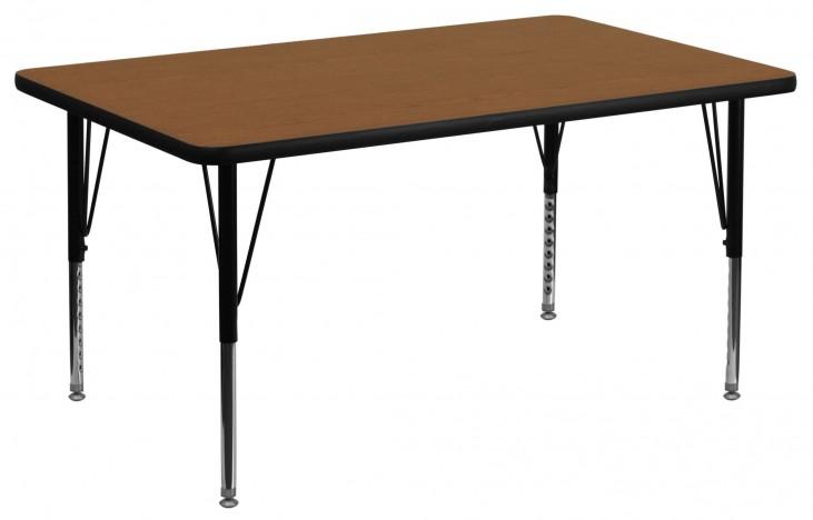 "48""L Rectangular Pre-School Adjustable Height Oak Activity Table"