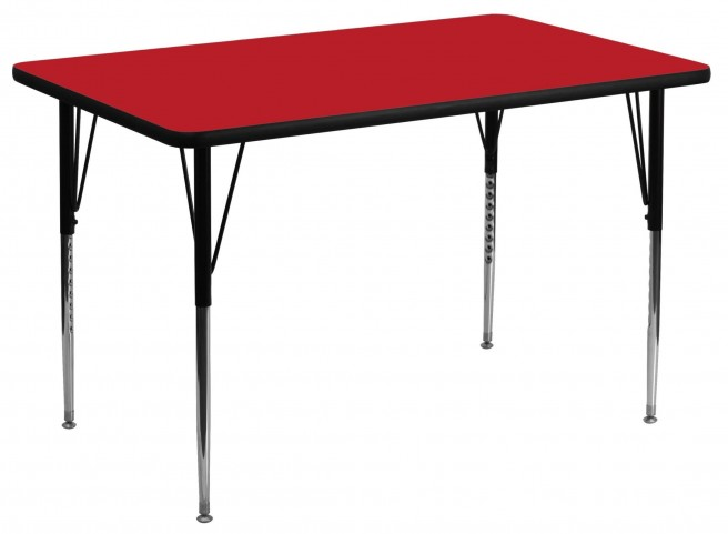 """48""""L Rectangular Adjustable Height Red Activity Table"""