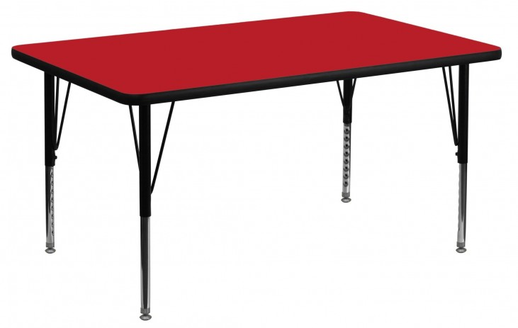 "48""L Rectangular Pre-School Adjustable Height Red Activity Table"