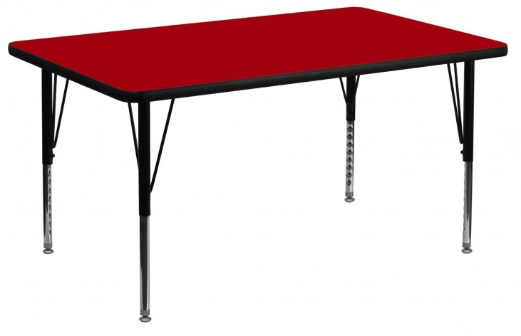 "48""L Rectangular Pre-School Red Activity Table"