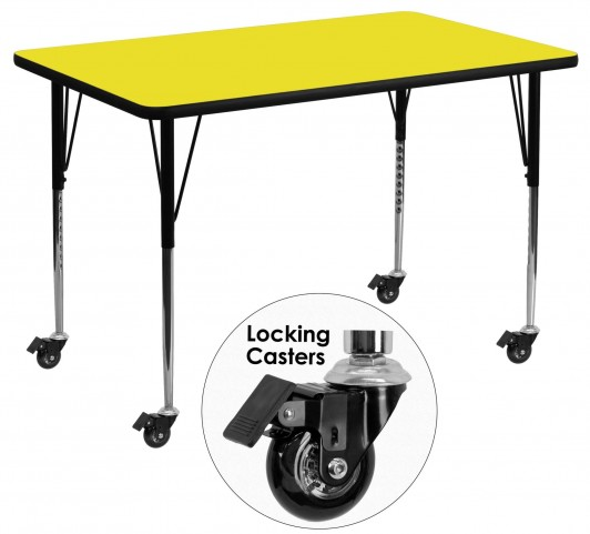 "Mobile 48""L Rectangular Adjustable Height Yellow Activity Table"