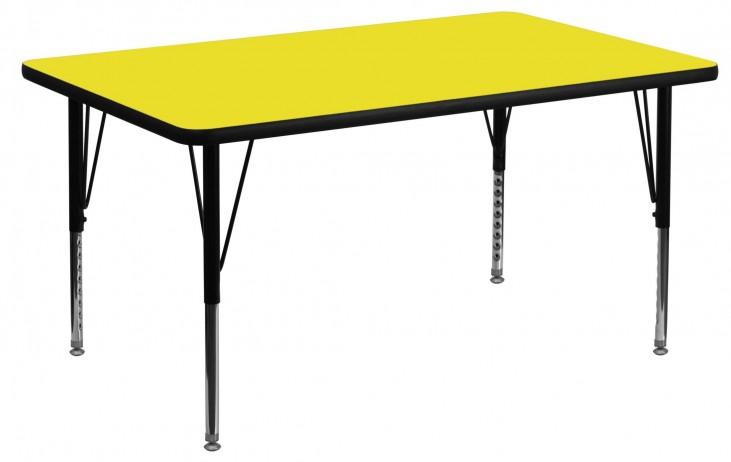 "48""L Rectangular Pre-School Adjustable Height Yellow Activity Table"