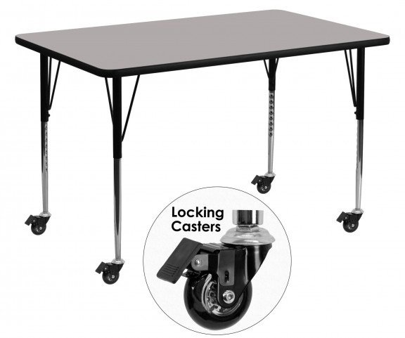 "Mobile 30""W x 60""L Rectangular Adjustable Height Gray Activity Table"