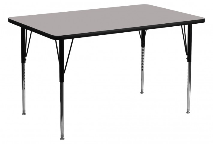 "30""W x 60""L Rectangular Adjustable Height Gray Activity Table"