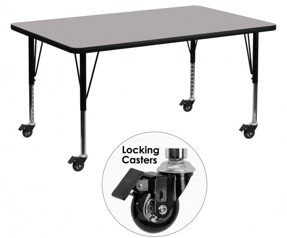 "Mobile 60"" Rectangular Pre-School Adjustable Gray Activity Table"