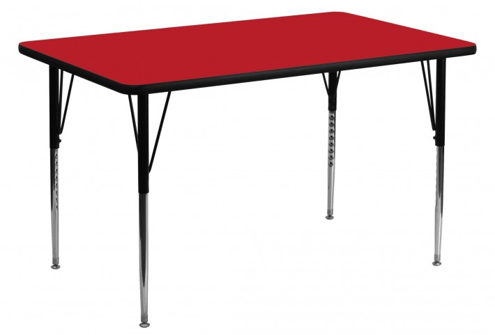 """30""""W x 60""""L Rectangular Adjustable Height Red Activity Table"""