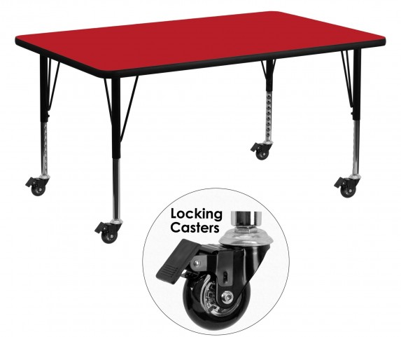 """Mobile 60"""" Rectangular Pre-School Adjustable Height Red Activity Table"""
