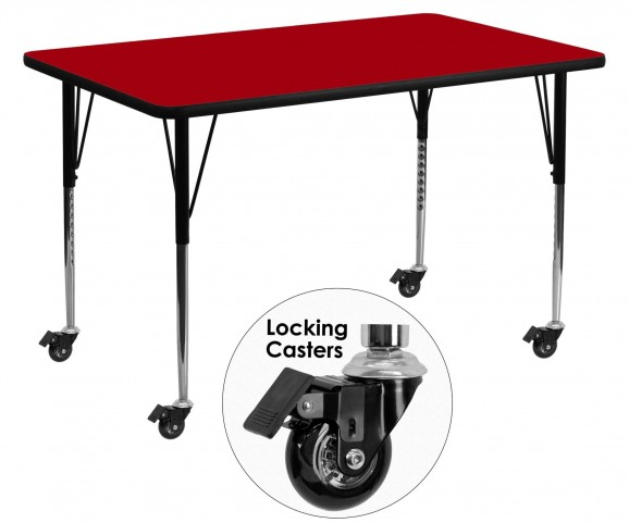 "Mobile 30""W x 60""L Rectangular Red Activity Table"
