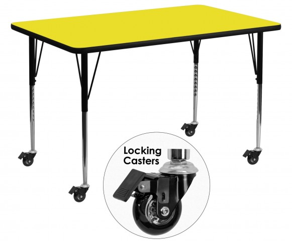 """Mobile 30""""W x 60""""L Rectangular Adjustable Height Yellow Activity Table"""