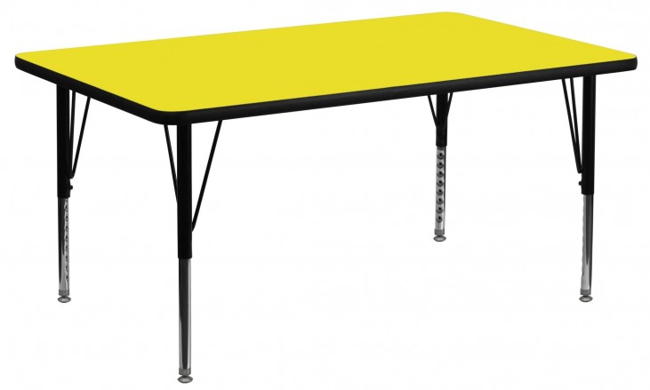 "60"" Rectangular Pre-School Adjustable Height Yellow Activity Table"