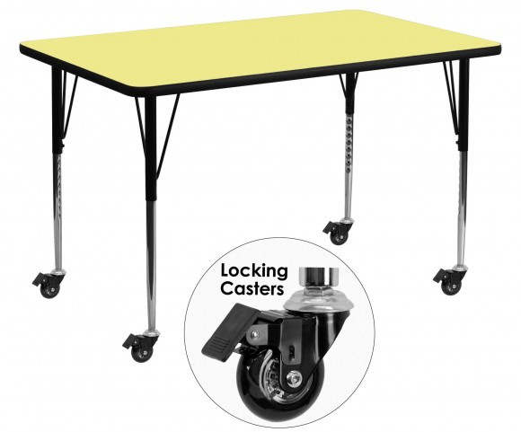"Mobile 30""W x 60""L Rectangular Yellow Activity Table"