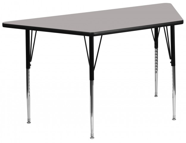 "30""W x 60""L Trapezoid Adjustable Height Gray Activity Table"