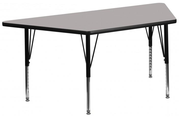 "60"" Trapezoid Pre-School Adjustable Height Gray Activity Table"