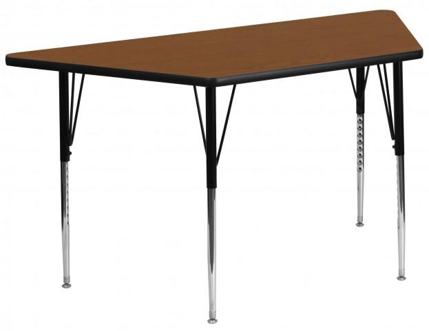 "30""W x 60""L Trapezoid Adjustable Height Oak Activity Table"