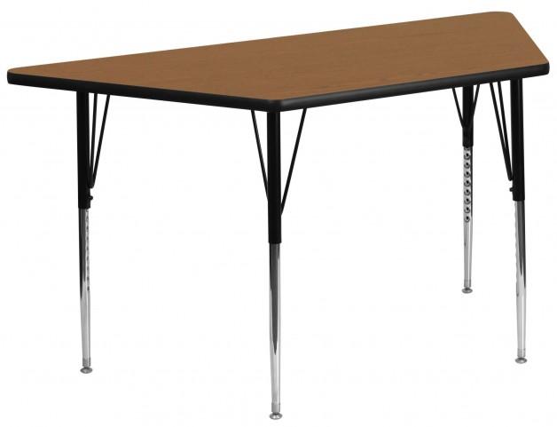 "30""W x 60""L Trapezoid Oak Activity Table"
