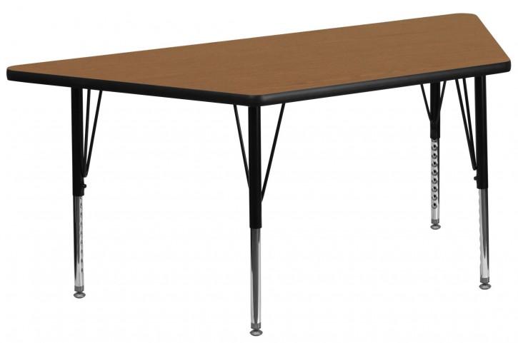 "30""W x 60""L Trapezoid Pre-School Oak Activity Table"
