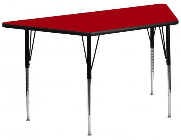 """30""""W x 60""""L Trapezoid Red Activity Table"""