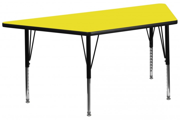 "60"" Trapezoid Pre-School Adjustable Height Yellow Activity Table"