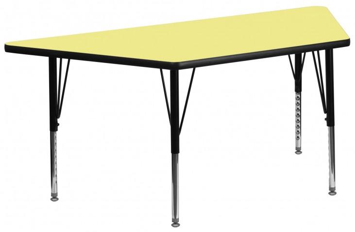 "30""W x 60""L Trapezoid Pre-School Yellow Activity Table"
