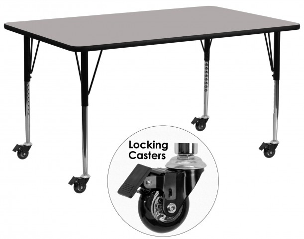 """Mobile 30""""W x 72""""L Rectangular Adjustable Height Gray Activity Table"""