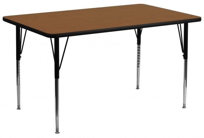"30""W x 72""L Rectangular Adjustable Height Oak Activity Table"