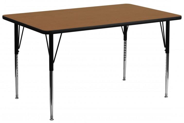 """30""""W x 72""""L Rectangular Oak Activity Table"""