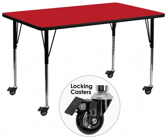 """Mobile 30""""W x 72""""L Rectangular Adjustable Height Red Activity Table"""