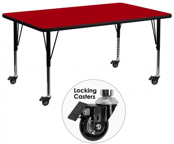 """Mobile 30""""W x 72""""L Rectangular Pre-School Red Activity Table"""
