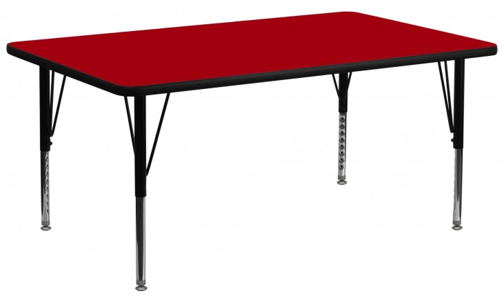 "30""W x 72""L Rectangular Pre-School Red Activity Table"