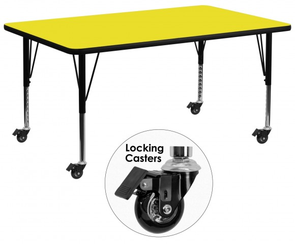 "Mobile 30""W Rectangular Pre-School Adjustable Yellow Activity Table"