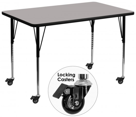 "Mobile 36""W x 72""L Rectangular Adjustable Height Gray Activity Table"