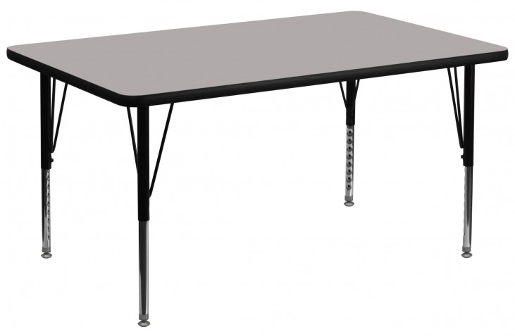 "36""W Rectangular Pre-School Adjustable Height Gray Activity Table"