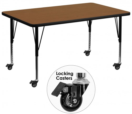"Mobile 36""W Rectangular Pre-School Adjustable Oak Activity Table"
