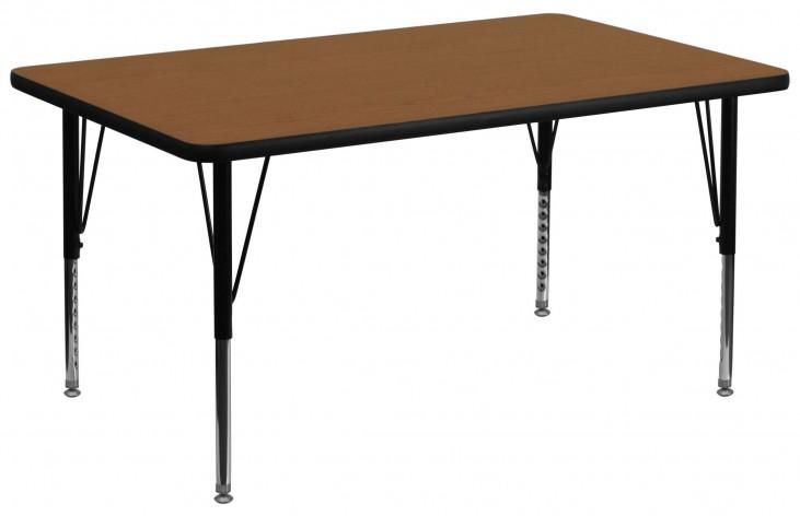 """36""""W Rectangular Pre-School Adjustable Height Oak Activity Table"""