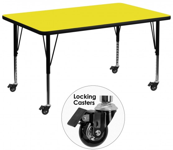 "Mobile 36""W Rectangular Pre-School Adjustable Yellow Activity Table"