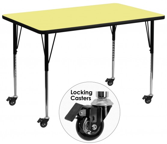 "Mobile 36""W x 72""L Rectangular Yellow Activity Table"