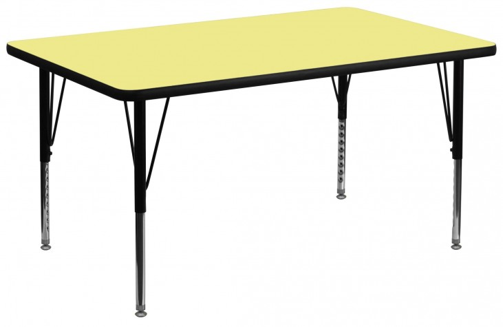 "36""W x 72""L Rectangular Pre-School Yellow Activity Table"