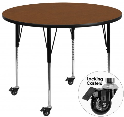 """Mobile 42"""" Round Adjustable Height Oak Activity Table"""