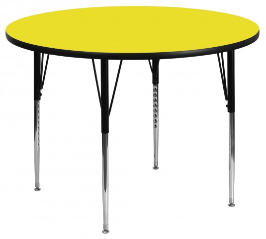 """42"""" Round Adjustable Height Yellow Activity Table"""