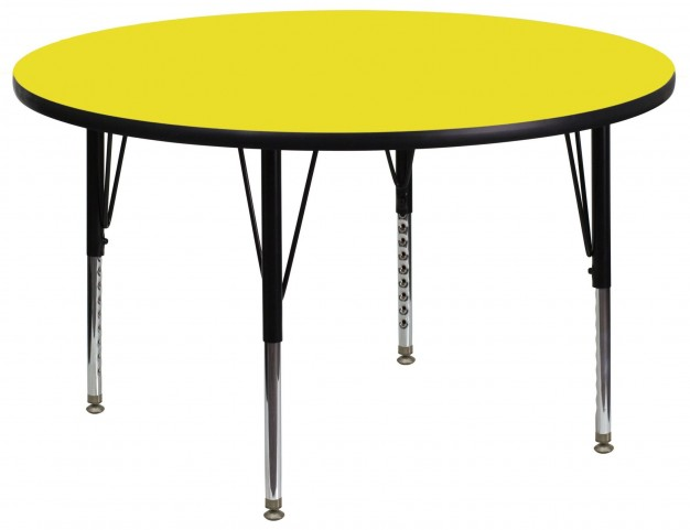 "42"" Round Pre-School Adjustable Height Yellow Activity Table"