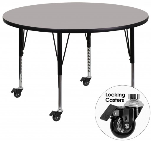 """Mobile 48"""" Round Pre-School Adjustable Height Gray Activity Table"""