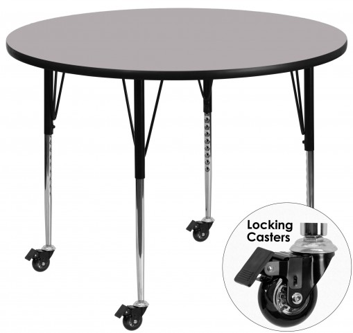 """Mobile 48"""" Round Gray Activity Table"""